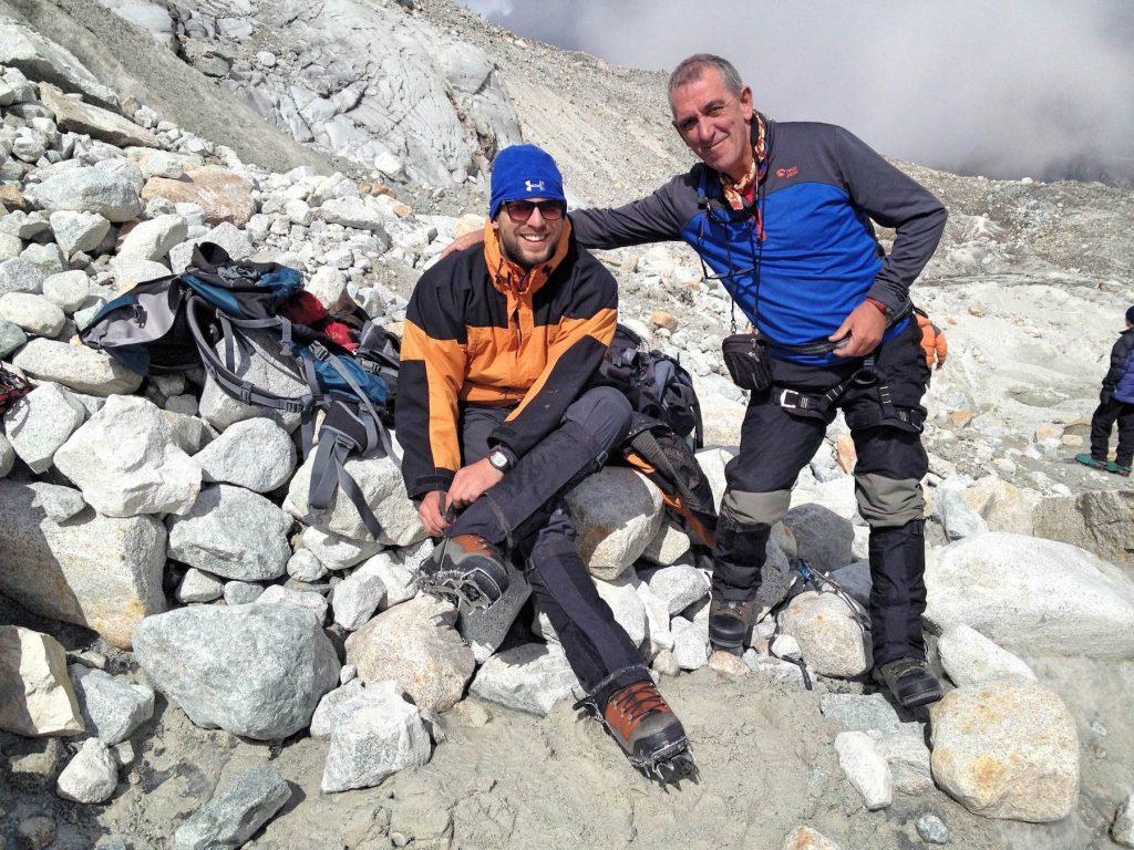 Mein spanischer Begleiter und ich beim Gletschertraining